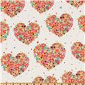 Michael Miller Flannel Hearts & Flowers Watermelon