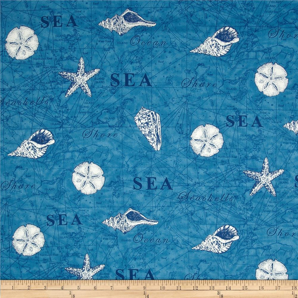 Moda Seascapes Map Twill Blue