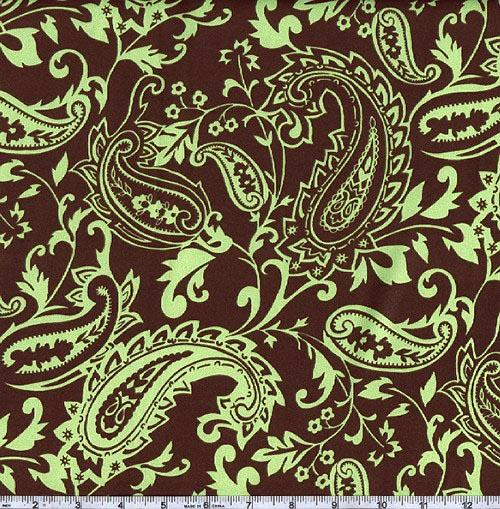 Charmeuse Satin Paisley Brown/Green