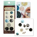 EKR-798 Laliberi Fabric Button Brads Assorted Dark