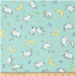 Moda Beddy Bye Flannel Counting Sheep Aqua