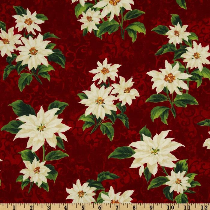 Holiday Treasures Medium Poinsettias Red