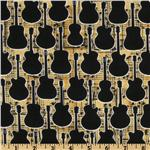 EF-069 Guitar Silhouettes Gold/Black