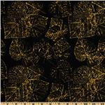 FG-149 Tonga Batik Falling Leaves Stamped Leaves Black