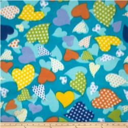 Printed Fleece Dotted Heart Turquoise