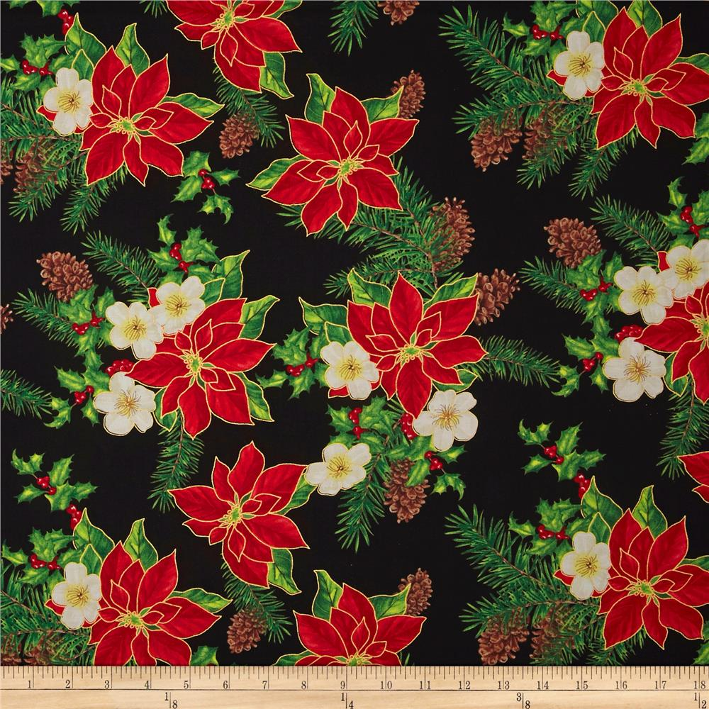 Christmas Carols Metallics Floral Mix Black