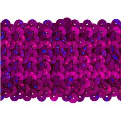 "1 3/4"" Hologram Stretch Sequin Trim Magenta"