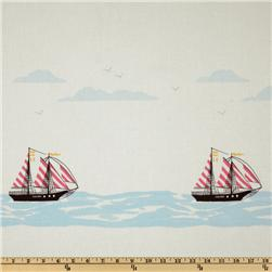 Michael Miller Out To Sea Sail Away Double Border Stripe  Blossom Pink