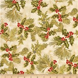 Holiday Flourish 6 Holly Metallic Holiday Natural