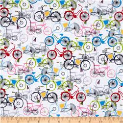 Timeless Treasures Planes, Trains & Automobiles Bicycles White