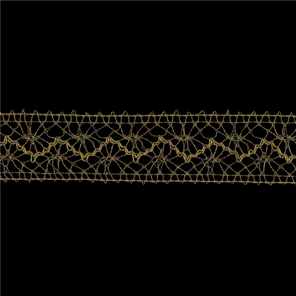 1 1/2'' Metallic Crochet Lace Trim Gold