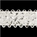 2 3/4&quot; Stretch Sequin Ric Rac Ribbon Trim Silver/White
