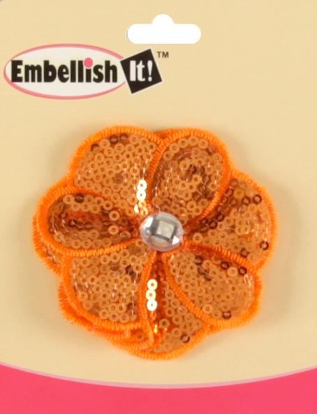 Jeweled Posey Sequin Brooch 2-1/2&#39;&#39; Orange