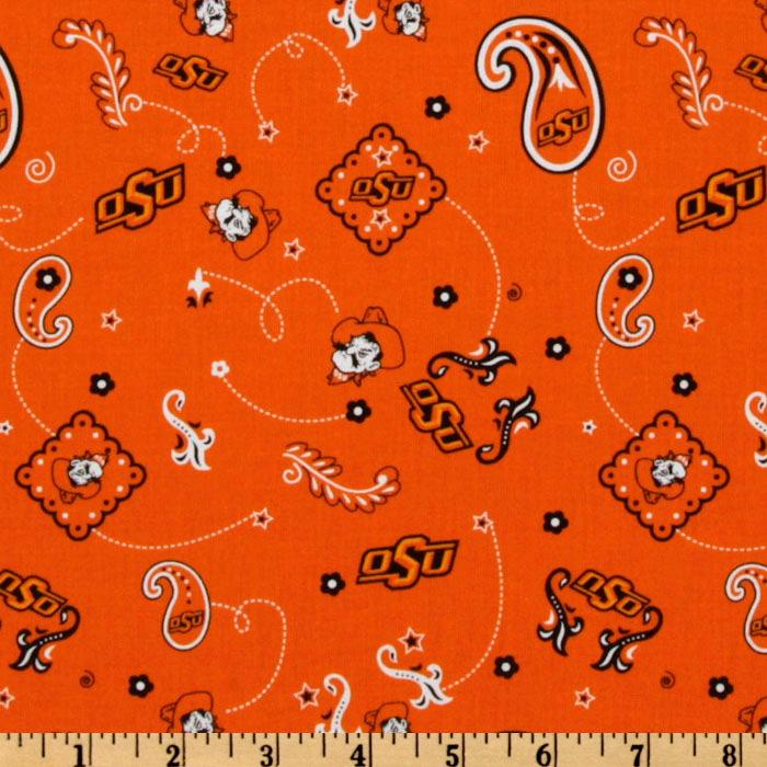 Collegiate Cotton Broadcloth Oklahoma State Bandana Orange