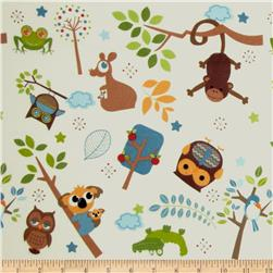 Riley Blake Hooty Hoot Returns Flannel Tossed Animals Cream