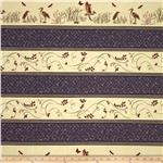 Moda Enchanted Pond Prints Border Stripe Purple Dusk