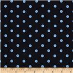 Designer Cotton Jersey Knit Painted Dots Navy