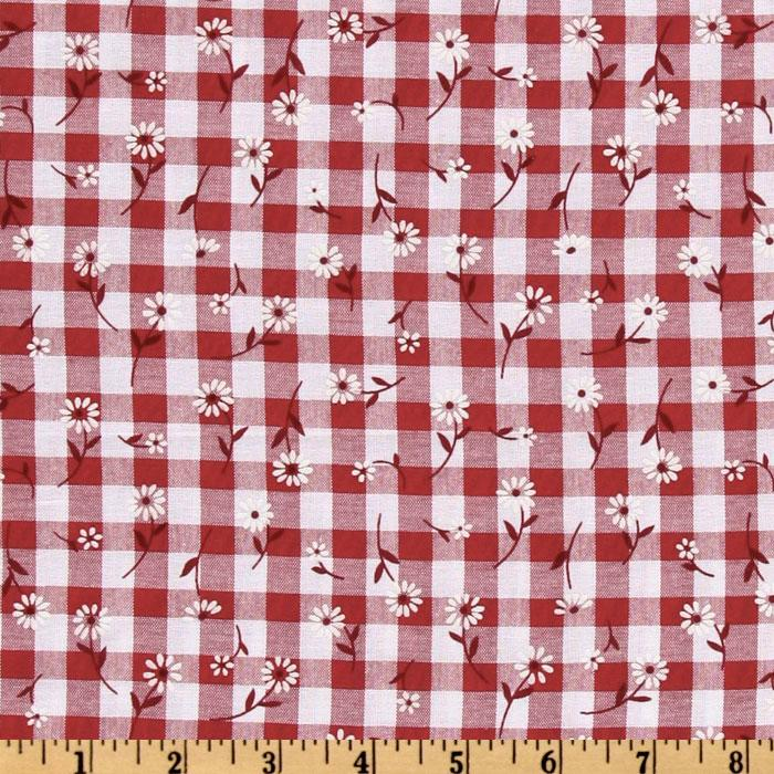Woven 1/4&#39;&#39; Daisy Gingham Red
