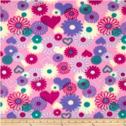 Girl Talk Fleece Hearts & Daisies Pink