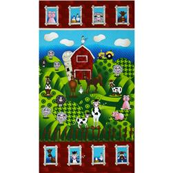 The Farm at Whistle Pig Creek Flannel Barnyard Panel Multi