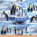 Timeless Treasures Penguins On Ice Blue