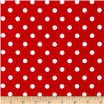 0296970 Stretch ITY Jersey Knit Polka Dot Red/White