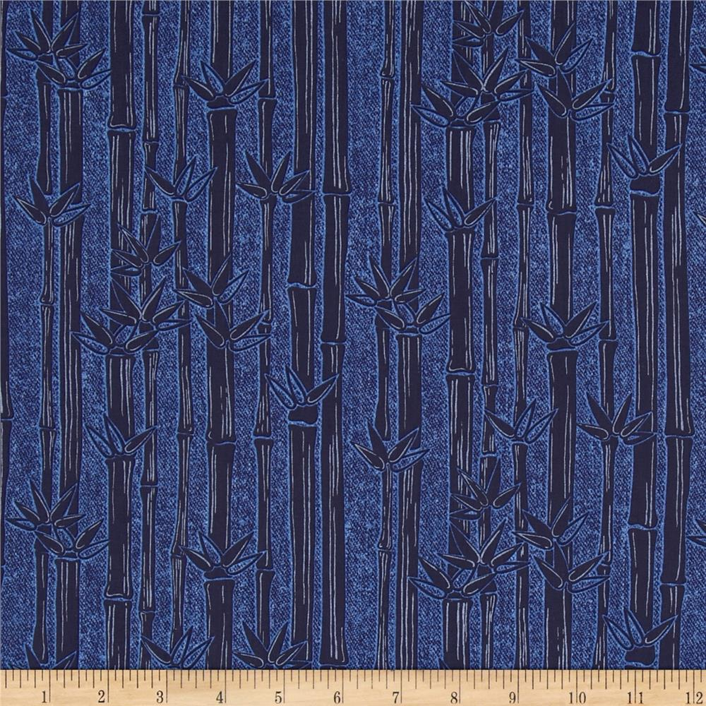 Kanvas Water Lily Bamboo Stripe Denim Navy