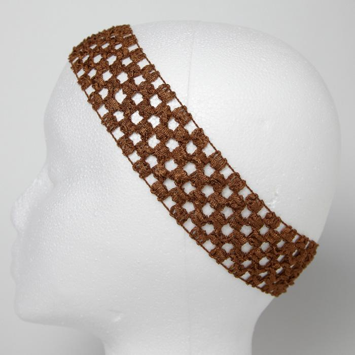 1 3/4'' Stretch Crochet Headband Brown