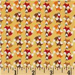 0283423 Timeless Treasures Mini Foxes Gold