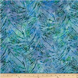 Moda Island Sun Batik Abstract Leaves Green/Black Jungle