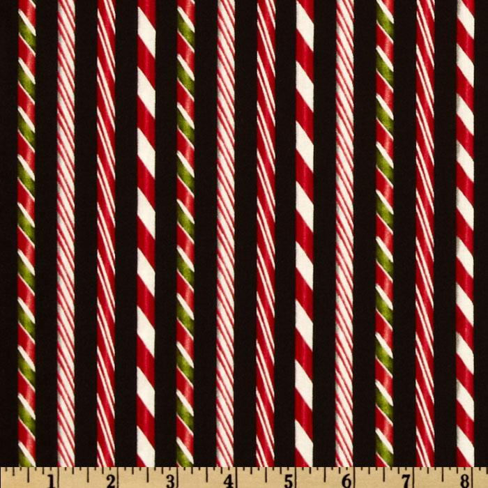 Holly Jolly Christmas Candy Cane Stripes Black