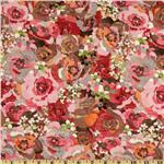 203119 Moda Kissing Booth Dozen Roses Brown/Multi