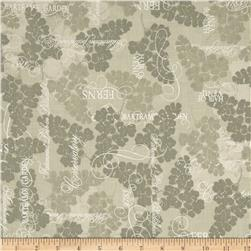 Lonni Rossi's Floral Fronds and Metallic Words Grey