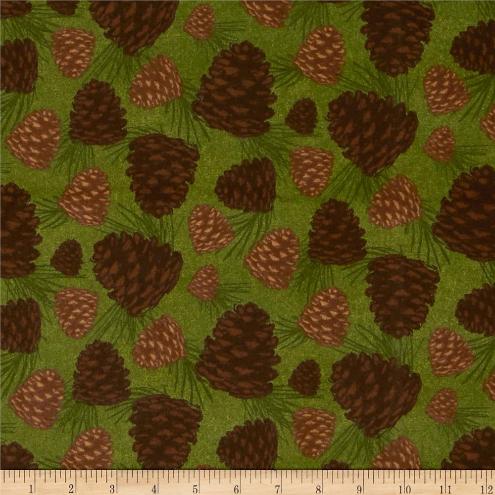Timber Lodge Flannel Pinecones Nature Green