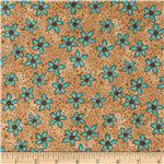 Romance Flowers &amp; Dots Aqua/Tan