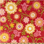 228367 Riley Blake Hello Sunshine Flannel Tossed Flowers Red