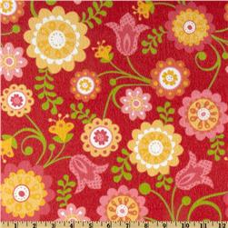 Riley Blake Hello Sunshine Flannel Tossed Flowers Red