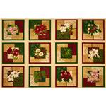 Holiday Finery Christmas Flowers Panel Ivory/Multi