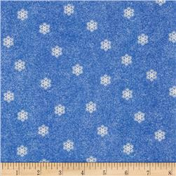 Flannel Tossed Small Snowflakes Blue