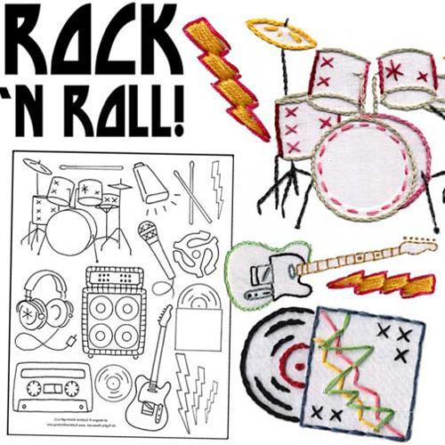 Sublime Stitching Rock &amp; Roll Embroidery Transfer