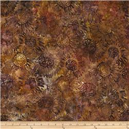 Artisan Batik Cornucopia 4 Sunflowers Large Mahogany Brown