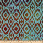 0269725 Indian Batik Ikat Turquoise/Orange/Purple