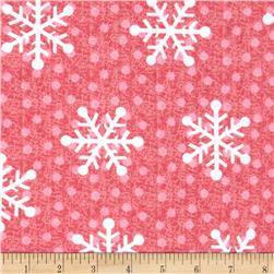 Flannel Tossed Large Snowflakes Red