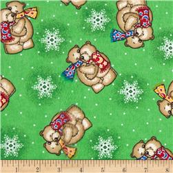 Flannel Tossed Teddy Bears Green