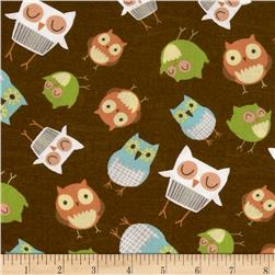 Wonderful Woodlands Owls Allover Brown