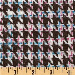 Wool Blend Coating Houndstooth Brown/Multi