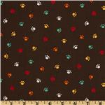 Pet Park Paw Prints Brown
