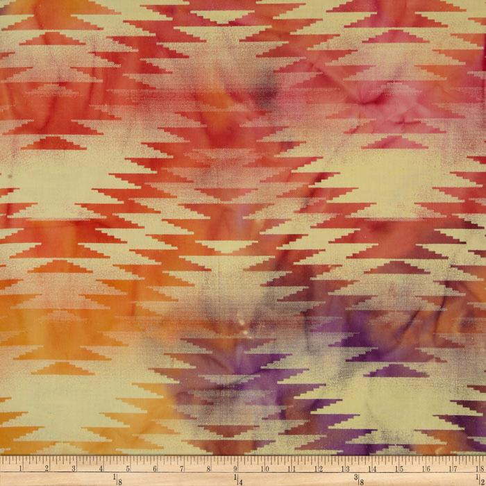 Indian Batik Chevron Orange/Purple