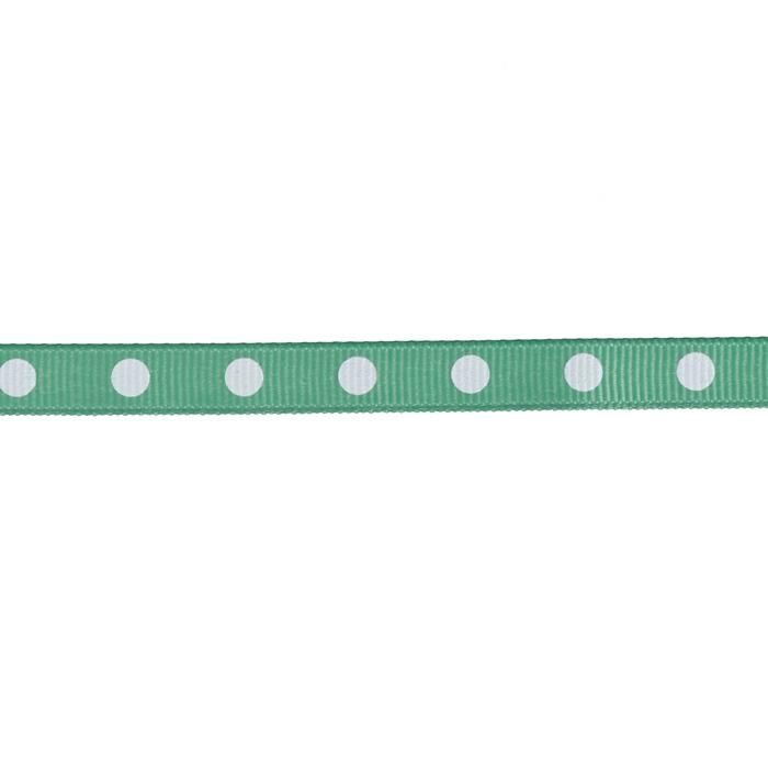 "3/8"" Grosgrain Ribbon Dot White/Seafoam"