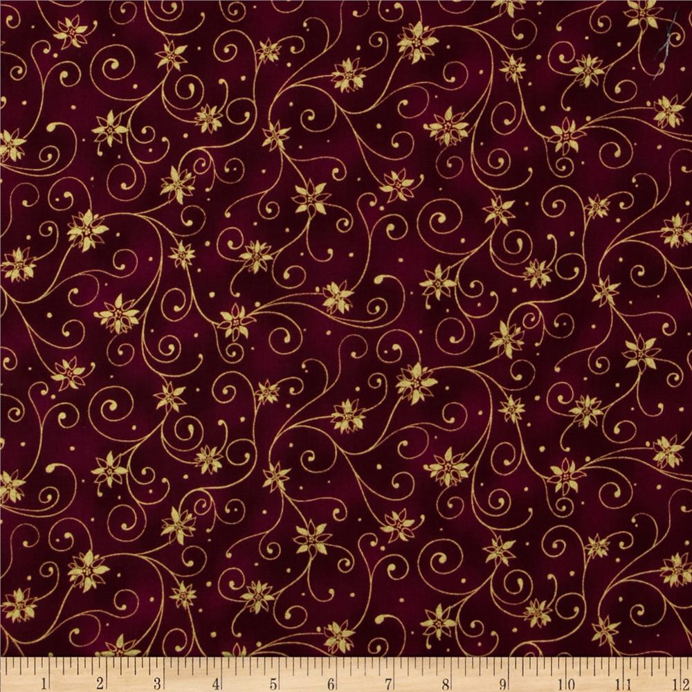 Holiday Accents Classics 2013 Metallic Swirl Burgundy